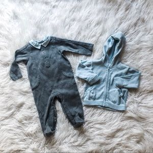 Cute baby romper and cardigan set